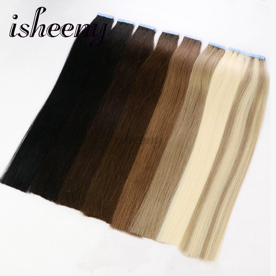 Isheeny Salon Bande de Cheveux Double Drawn Cheveux 16 18 20 22 Adhésifs Sans Soudure Remy de Cheveux Humains sur Colle Bande 40 pcs