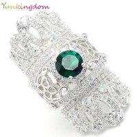 Yunkingdom Обручение палец Кольца для Для женщин Модные украшения Кольца Big Crown Кольца Зеленый Циркон изысканные кольца
