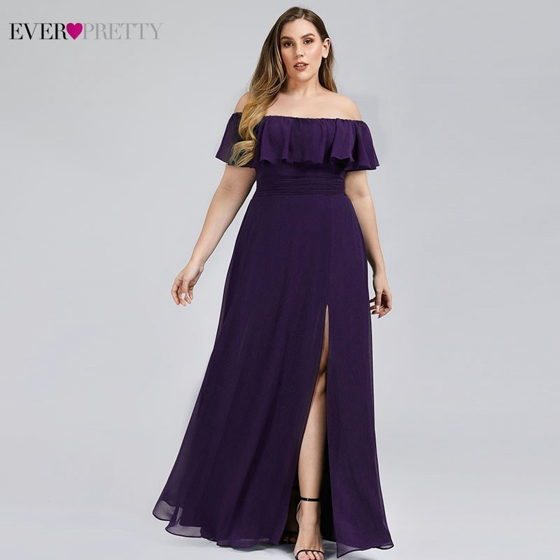 Plus Size Ever Pretty Elegant Bridesmaid Dresses Off Shoulder Side Split Ruched Chiffon Wedding Guest Dresses Vestido Madrinha
