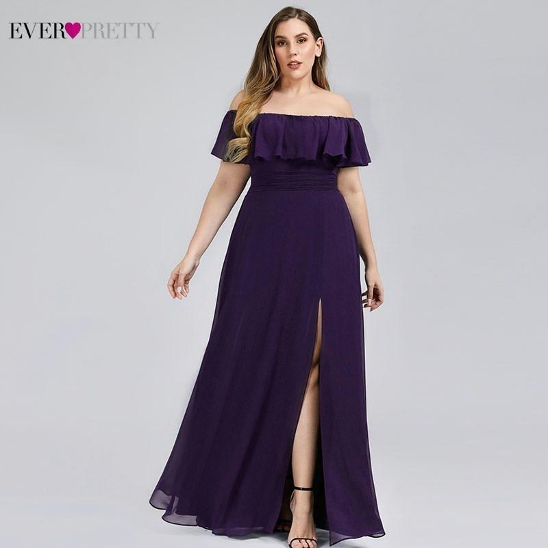 Plus Size Ever Pretty Elegant Bridesmaid Dresses Off Shoulder Side Split Ruched Chiffon Wedding Guest Dresses Vestido Madrinha
