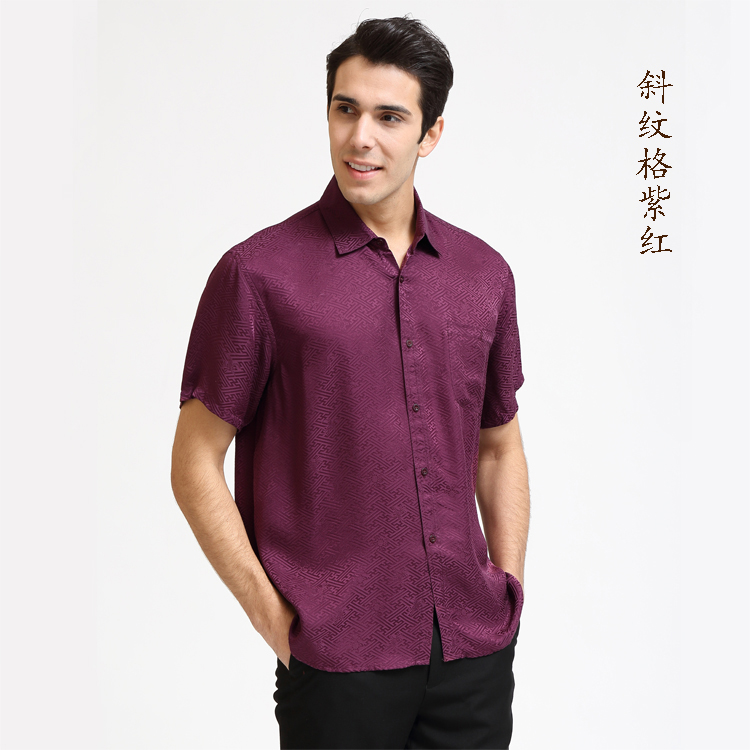 100% of the 2018 mens shirt mulberry silk spring and summer casual shirts with sleeves Cashew grain pale blue L - XXXL ...