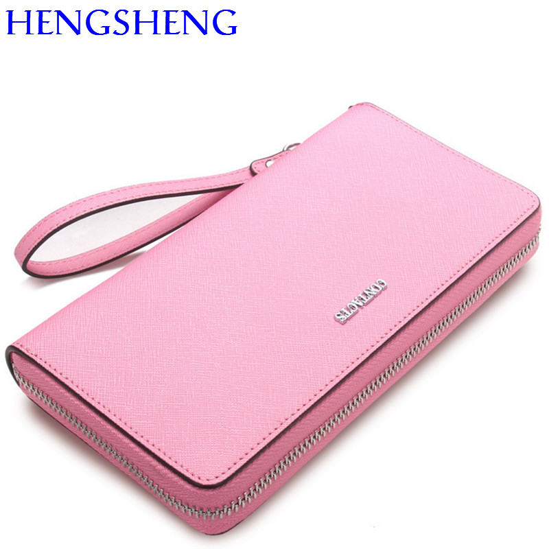 Hengsheng promotion pink women wallet with 100% genuine leather female long wallet women handbag for fashion lady cash purses women wallet women s purses genuine leather clutch with large capacity for credit card cash fashion design female purses