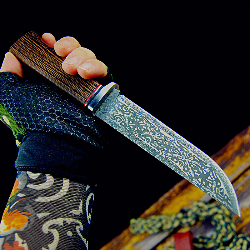 Hand-forged Damascus Corrosion Mark Japanese 9CR18MOV Jungle Hunter Sharp Tactical Straight Knife Collection Ornamental Knife