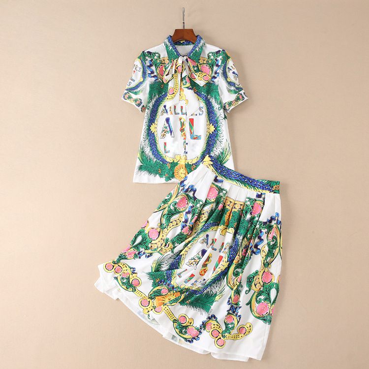 New Design Fashion Runway Suit 2018 Summer New Womens Trade Vintage Lapel Short Sleeve Shirt + Pleated Half Skirt Set