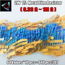 Kit surtido de resistencias de película metálica 2W 1% 0.33R-1M,64valuesX10 Uds = 640 Uds.