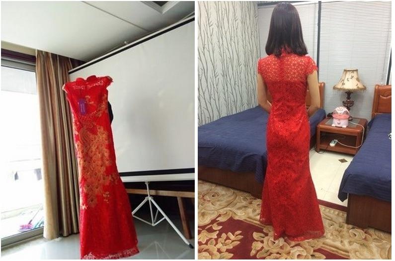 chine tradition phénix broderie rouge dentelle sequin cheongsam - Vêtements nationaux - Photo 5