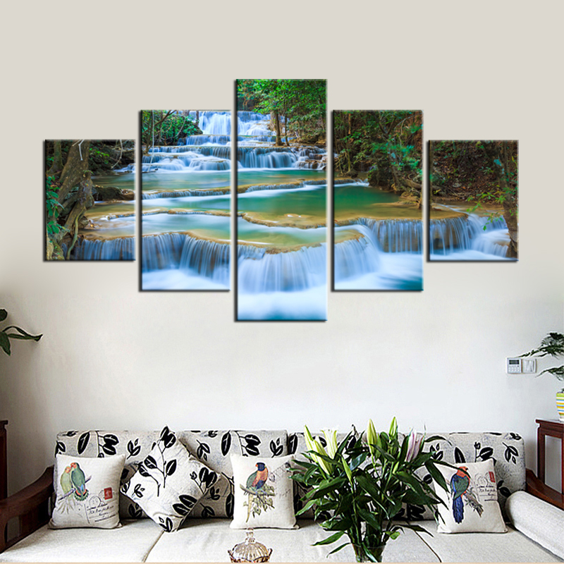 office wall prints. Peaceful Waterfall Canvas Prints 5 Pieces Painting Office Wall Decor Poster Beautiful Landscape Paintings Waterfalls Art -in \u0026 Calligraphy