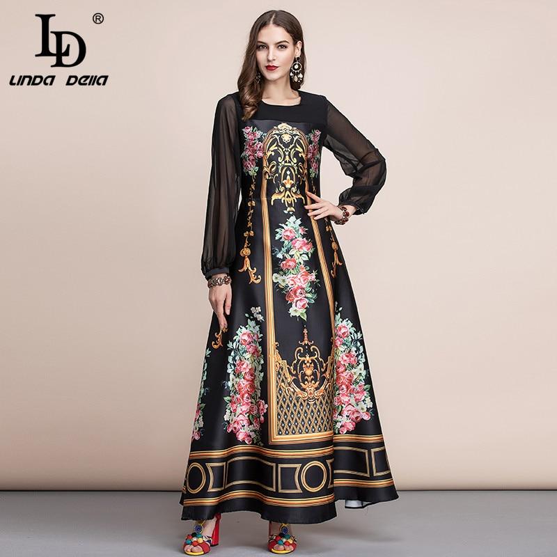 LD LINDA DELLA  Spring Fashion Runway Vintage Maxi Dresses Women's Long Sleeve Retro Floral Print Holiday Party Long Dress