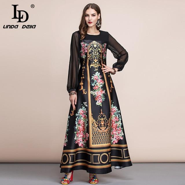 LD LINDA DELLA  Spring Fashion Runway Vintage Maxi Dresses Womens Long Sleeve Retro Floral Print Holiday Party Long Dress