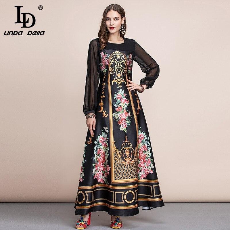 LD LINDA DELLA printemps mode piste Vintage Maxi robes femmes à manches longues rétro imprimé Floral vacances fête longue robe
