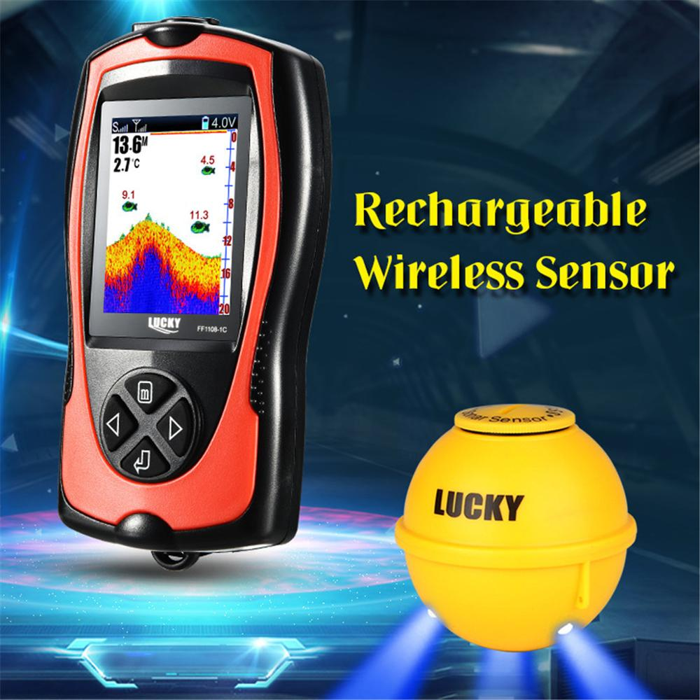 LUCKY FF1108 1CWLA Wireless Sonar Fishing Finder Transducer ICE Ocean Boat Fish Finder Alarm Fish Finder