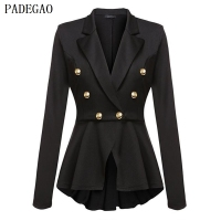 PADEGAO Black Slim Jacket Double Breasted Metal Button Cardigan Autumn Winter Casual Tops Coat Office Women