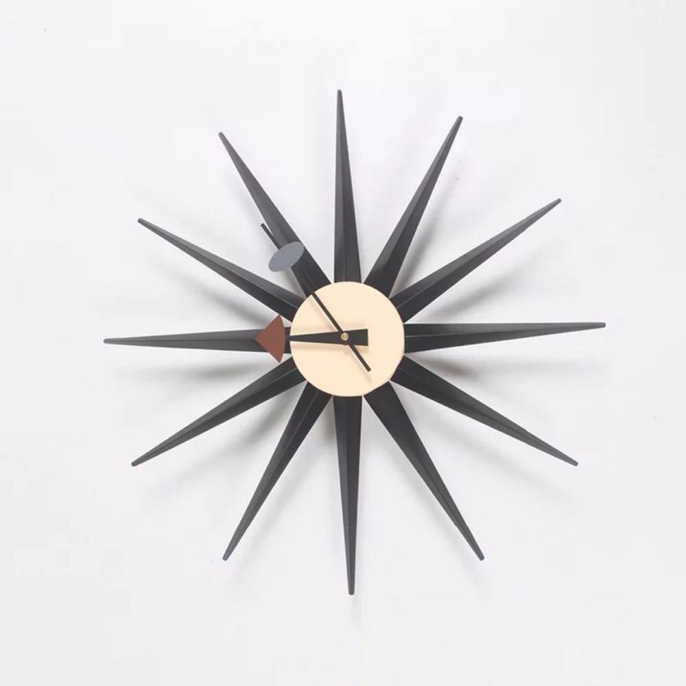 Livraison gratuite 48 cm horloge Sunburst originalité horloge murale Nelson horloge en bois moderne
