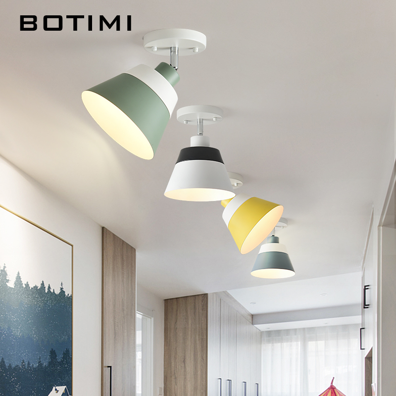 BOTIMI E27 LED Ceiling Lights With Metal Lampshade For Corridor Adjustable Indoor Ceiling Lamp Modern Kitchen Lighting FixturesBOTIMI E27 LED Ceiling Lights With Metal Lampshade For Corridor Adjustable Indoor Ceiling Lamp Modern Kitchen Lighting Fixtures