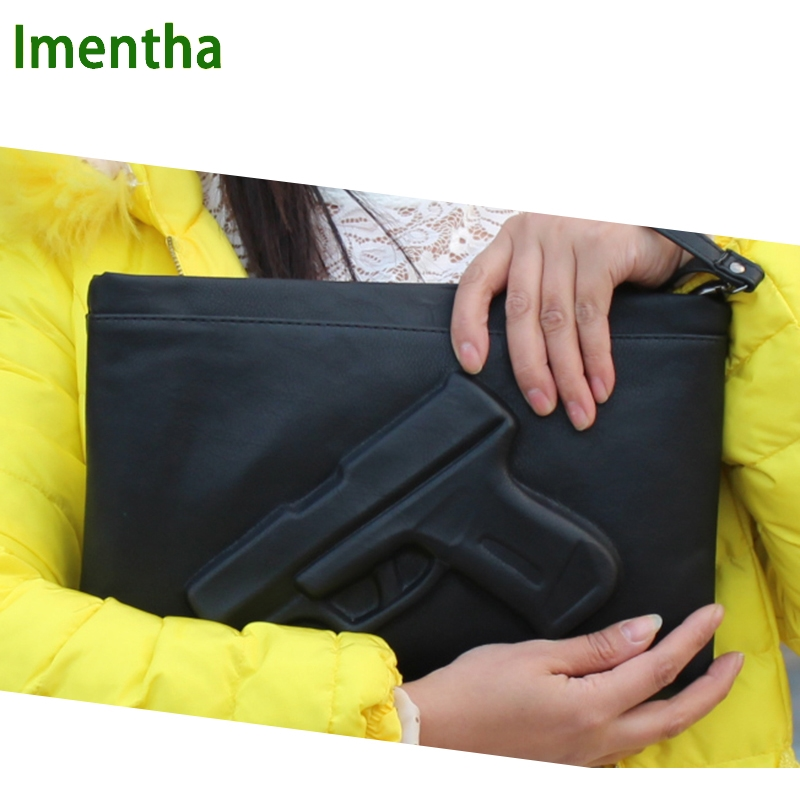 Pistol women clutch bag female day clutch purses and handbags evening clutch bags black envelope clutch gun leather handbags clutch emilio masi clutch