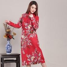 Chinese Style Vintage Flower Bird Print Women Long Dress Cotton Linen Plus Size Autumn Dress Loose Casual Robe Femme