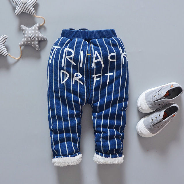 2016 Korean version of the new winter striped children's trousers children's cotton trousers plus velvet thick baby trousers