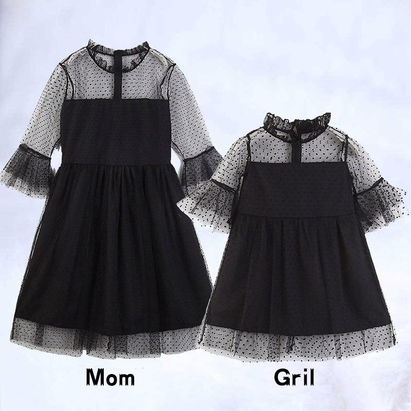 Robe en dentelle noire filles mère fille robes Boutique enfants vêtements Parent enfant tenues maman et moi famille correspondant vêtements