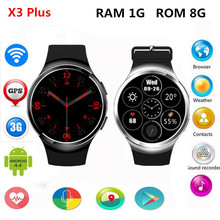 2017 New X3 Plus K9 Bluetooth Smart Watch Android 5.1 MTK6580 Quad Core 1GB+8GB Heart Rate   Smartwatch Clock For iOS Android