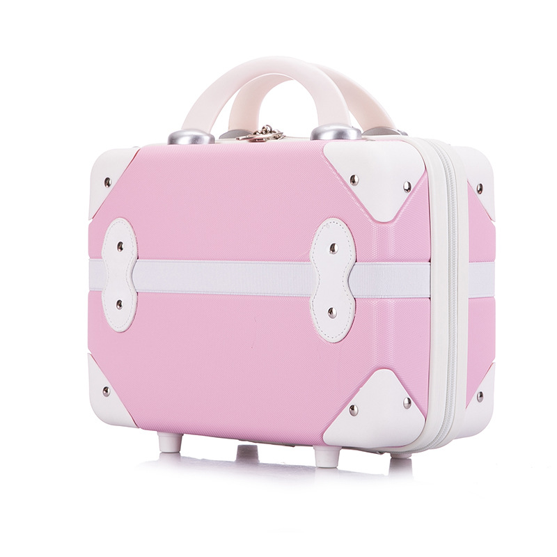 Vintage Portable Cosmetic Case Woman Nails Makeup Tool Box Travel Cosmetic Bag Girls Mini 14inch Suitcase Pink Carry On Luggage