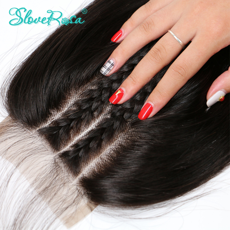 Slove Rosa Hair Straight 5x5 Lace Closure Three Part With Baby Hair Brazilian Human Remy Hair