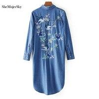 SheMujerSky Blue Denim Dress Bird Floral Embroidery Shirt Dress vestidos jeans johnature vestido feminino Side Split