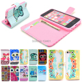 2014 multi  owls cute design  flip leather wallet stand case  for iPhone 5c with card holder AB0624