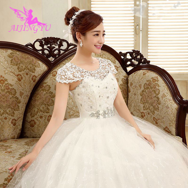 AIJINGYU 2021 floor length Customized new hot selling cheap ball gown lace up back formal bride dresses wedding dress WK718