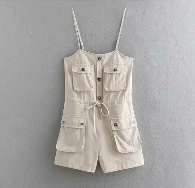 2019 Safari Style Spaghetti Strap Jumpsuit Women Open Button Lacing up Bow Waist Short Pants Romper Cotton Linen Playsuits 4