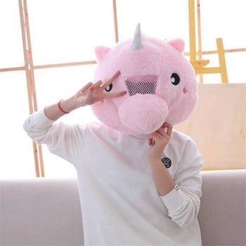 Плюшевая Шапка розовый единорог
