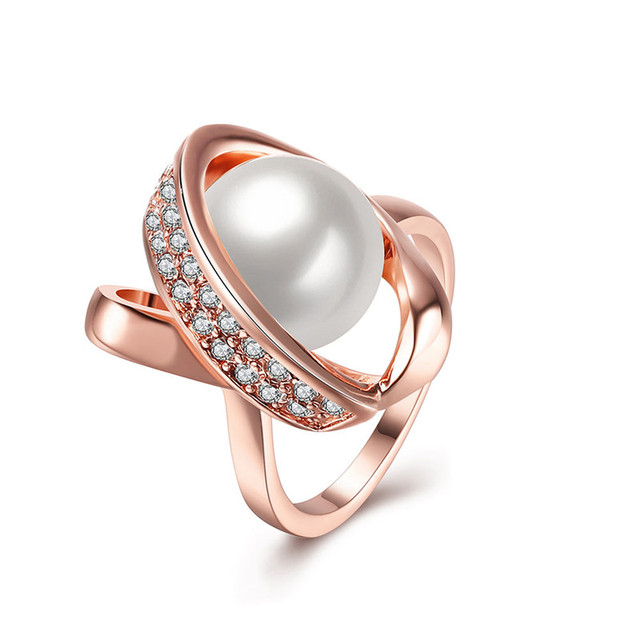 Unique Design Rose Gold Color Party Rings With Imitation Pearl ...