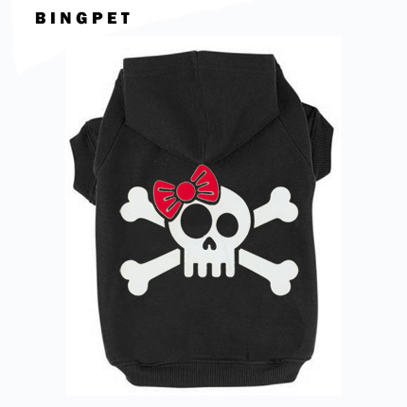 Cat Fleece Sweatshirt Dog Hoodies Design Skull dengan Tie untuk Autumn / Winter 7 Ukuran 4 warna
