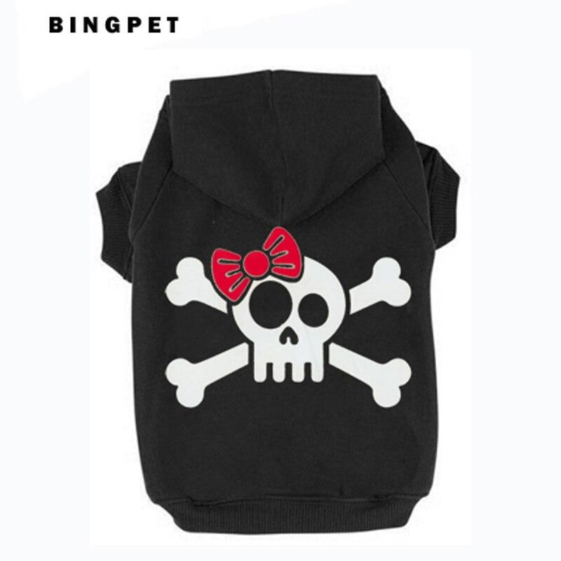 Cat Fleece Sweatshirt Dog Hoodies Design Skull with Tie for Autumn/Winter 7 Sizes 4 colors