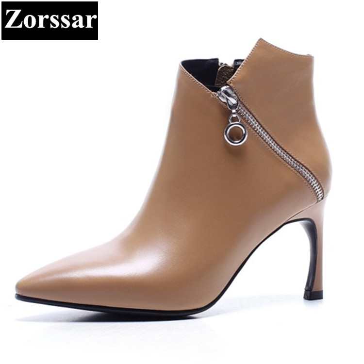 {Zorssar} 2017 winter Womens shoes pointed Toe thin heels ankle boots High heels Genuine Leather fashion women boots big size pointed toe high heels nubuck leather winter deep mouth thin heel big size mature leopard print stilletos shoes for women