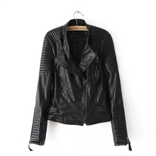 2017 S-L New Spring Autumn Adjustable Waist Zippers Draped Criss-Cross Fashion Women Black Slim Leather Jacket