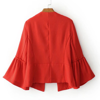 women elegant solid jacket open stitch design flare sleeve coats black red ladies casual brand outerwear tops