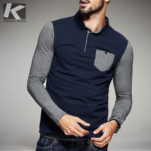 free shipping fashion casual 2016 male MEN'S Long sleeved autumn spring Stitching color POLO SHIRT polo shirts 6098  promotion