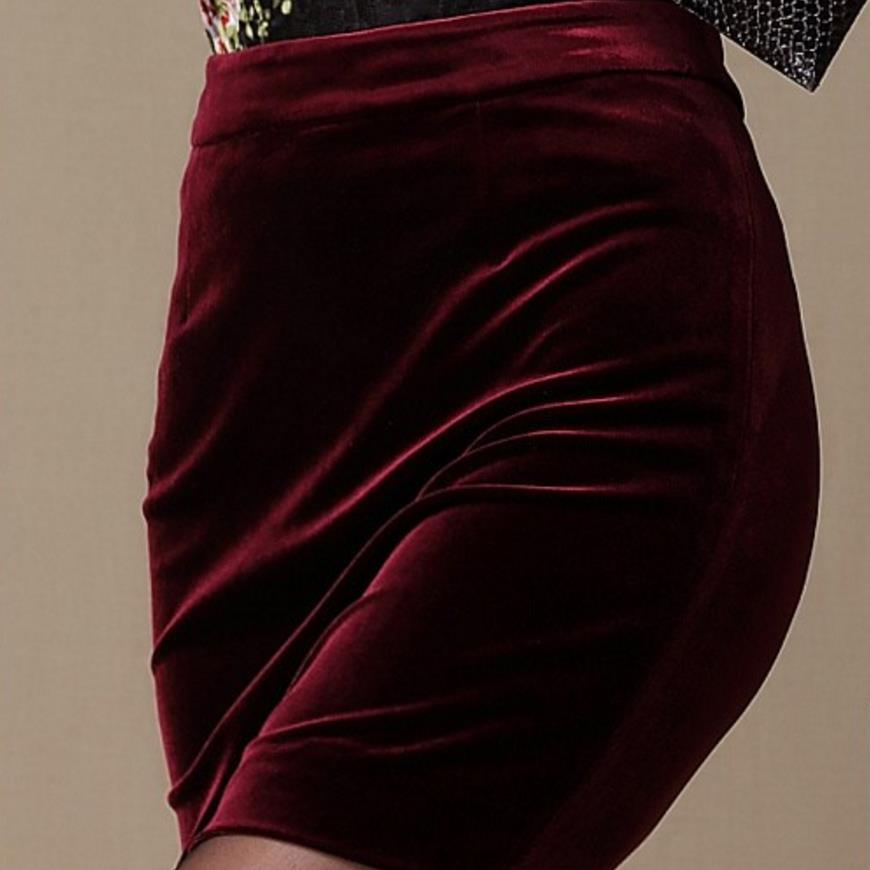 Soft Velvet Skirt Women High Waist Bodycon Mini Skirt Female Plus Size
