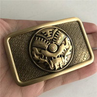 Retail 2018 New Style High Quality Rectangle Solid Brass Men Belt Buckle With 8 5cm Metal