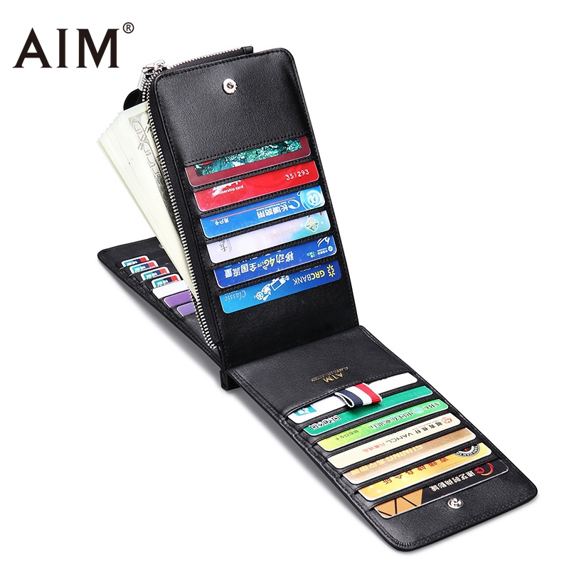 AIM Genuine Leather Business ID Card Wallet Credit Card Holder For Men Fashion Men's wallet for credit cards Porte Carte Q225 genuine leather men wallet cash clip small male purse nfc blocking card holder anti scan credit card rfid protection porte carte