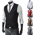 New 2014 Spring Men Metal Chain Decor Suit Vest Slim Fit Mens Casual Waistcoat Business Jacket Tops 4 Buttons Free ShippingM-XXL