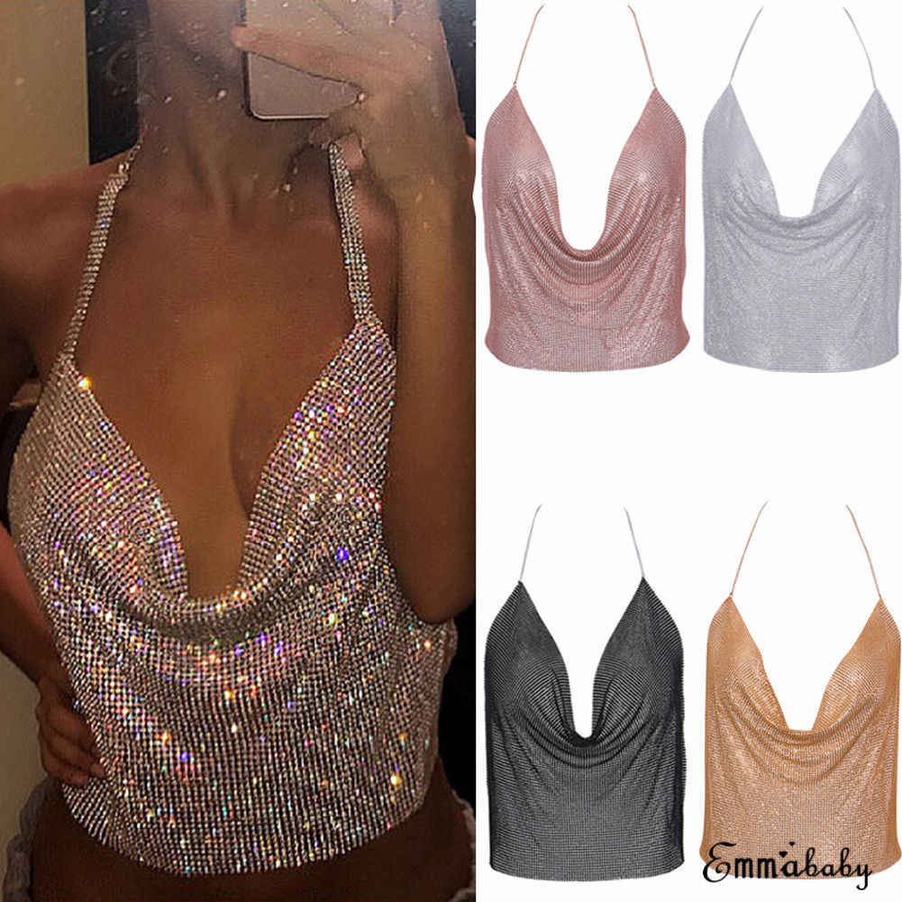 2018 Nieuw Sexy Fashion Vrouwen Dames Camis 8 Stijl Mouwloze Strapless Lovertjes Solid Losse Backless Tops