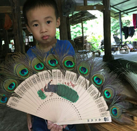 Xishuangbanna Dai Nationality Peacock Printed Handcrafts Exquisite Peacock Feather Fan Delicate Openwork Carving Wood Dance Fan
