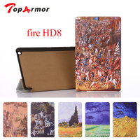 TopArmor For New Fire HD 8 Kindle EBook Printing 8inch Tablet Case PU Leather Cover For