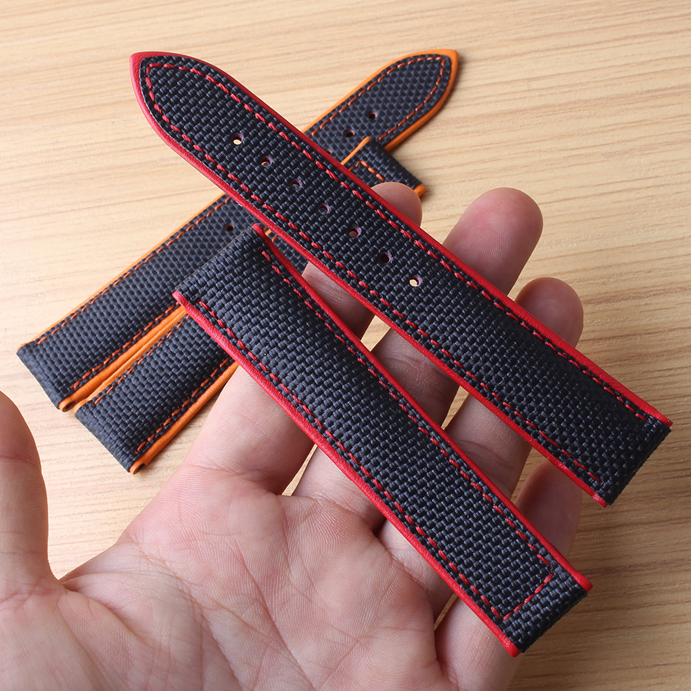 Special Watchbands Watch band strap without buckle 20mm 22mm black with orange line red stitched for brand mens watches hour new
