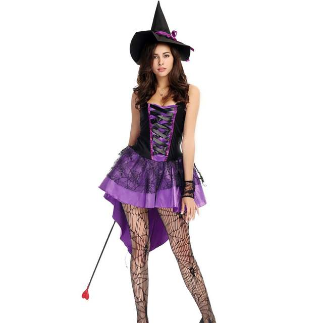 placeholder S-XXL Plus Size Large Purple Halloween Witch Costume Costumes  for Women Adult Adulto Fantasia 9eda34ea6c21