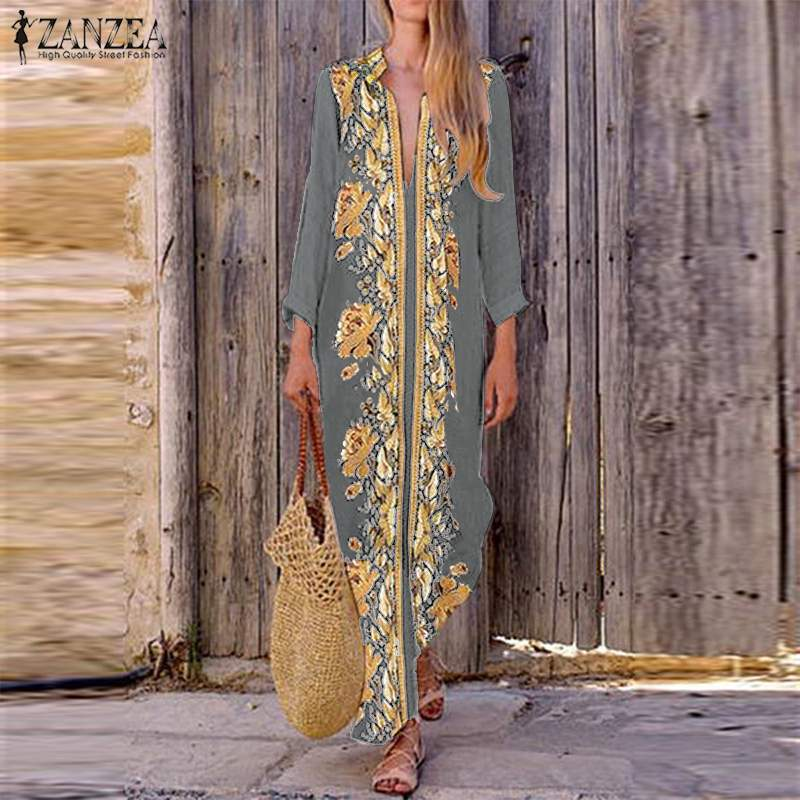 2020 ZANZEA Bohemian Print Maxi Dress Women's Summer V Neck Sundress Split Long Vestidos Female Vintage Floral DressPlus Size