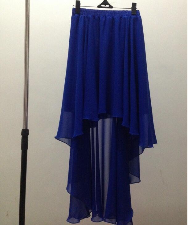 Летние модные однотонные сексуальные танцевальные юбки в стиле Лолиты, шифоновая юбка большого размера, Высококачественная брендовая Праздничная юбка - Цвет: Синий