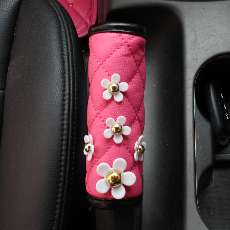 Pink Flower Car Seatblet Cover Shifter Hand Brake Sets For Women Girls Rear Mirror Pocket Covers Auto Interior Accessories