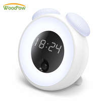 WoodPow LED Smart Night Light Body Sensor Lamp Dimming USB Rechargeable Bedside Lamps With Clock Alarm